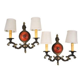 French Style Brass Two Light Wall Sconces - a Pair For Sale