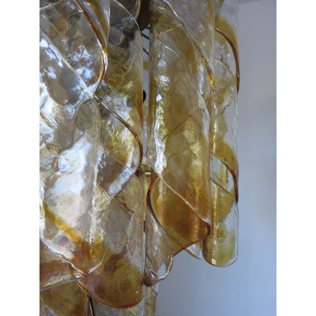Mazzega Murano Amber and Clear Twist Murano Chandelier by Mazzega For Sale - Image 4 of 6
