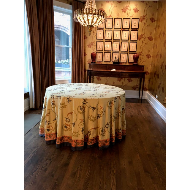 """Custom Made 54"""" Round Dining Table With Custom Table Cloth For Sale In Chicago - Image 6 of 9"""