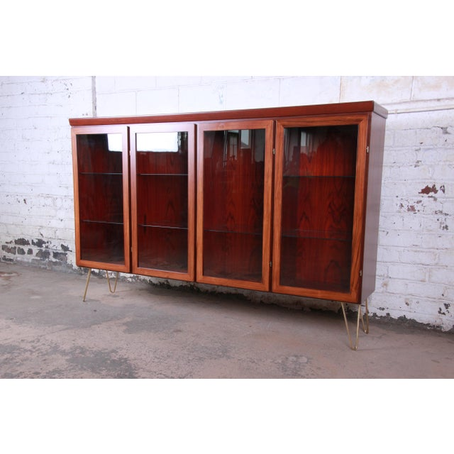 Danish Modern Skovby Danish Modern Rosewood Glass Front Bookcase on Hairpin Legs For Sale - Image 3 of 12