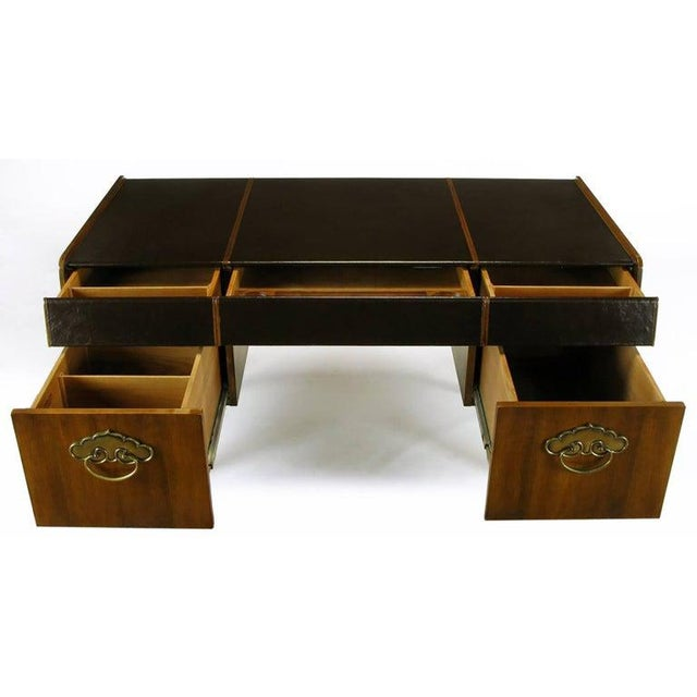 Coffee Mid-Century Modern Desk by Bert England for Widdicomb in Leather, Walnut and Bronze For Sale - Image 8 of 10
