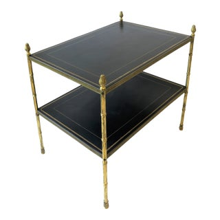 Maison Jansen Attributed Brass and Black Leather Two-Tier End Table From Spain For Sale