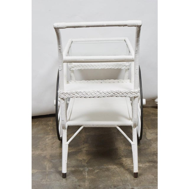 American Classical Wicker Drinks Cart For Sale - Image 3 of 5