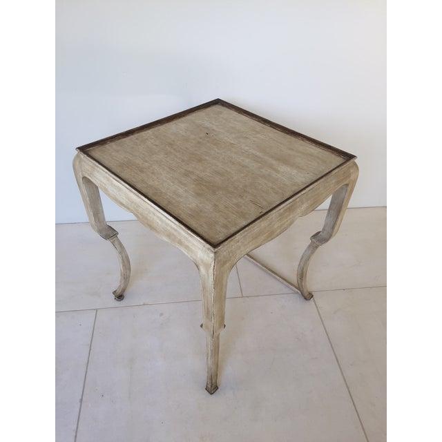 Hollywood Regency Beige Nancy Corzine Wood Side Table For Sale - Image 3 of 5