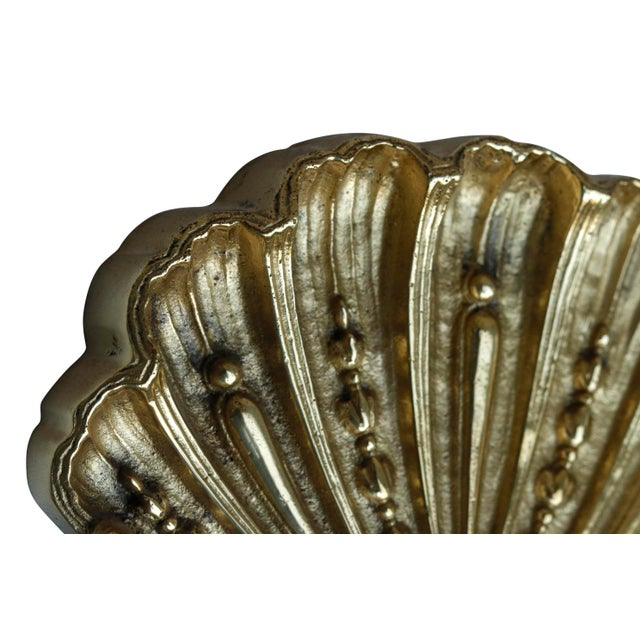Asian Rococo Style Scallop Shell Brass Appliqué For Sale - Image 3 of 7