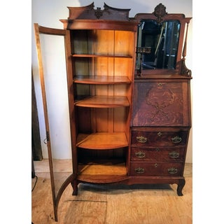 American Oak Side by Side Desk Curio Cabinet Bookcase Preview