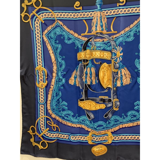 Traditional Beautiful Hermes Equestrian Themed Brides De Cour Silk Scarf For Sale - Image 3 of 7