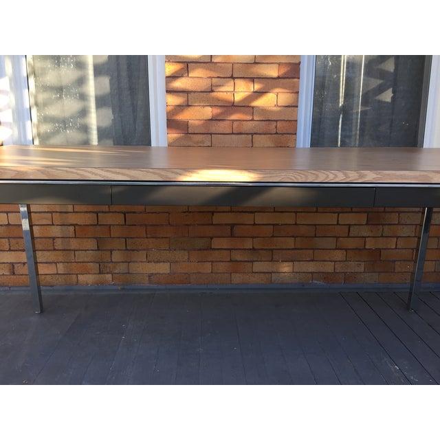 Steelcase Chrome and Oak Writing Desk - Image 4 of 11