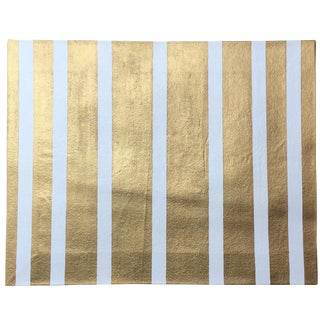 Contemporary Metallic Gold & White Candy Stripe Floorcloth - 2′ × 2′6″