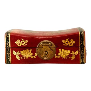 Chinoiserie Red Leather Covered Wood Box With Gilt Dragon and Phoenix Decoration For Sale