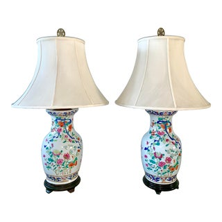 1980s Porcelain Floral Chinoiserie Table Lamp - a Pair For Sale