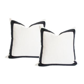 Solid White & Black Grosgrain Ribbon Pillow Covers - A Pair For Sale