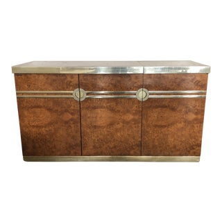 1970's Pierre Cardin Burl Walnut and Brass Credenza Drybar
