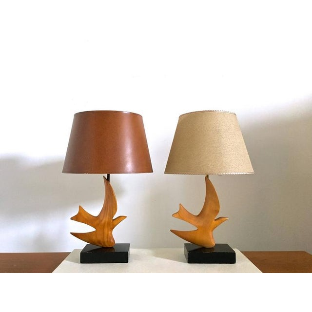 "Brass Clark Voorhees ""Bird Lamp"" for Hansen with Original Shade, Pair Available For Sale - Image 7 of 8"