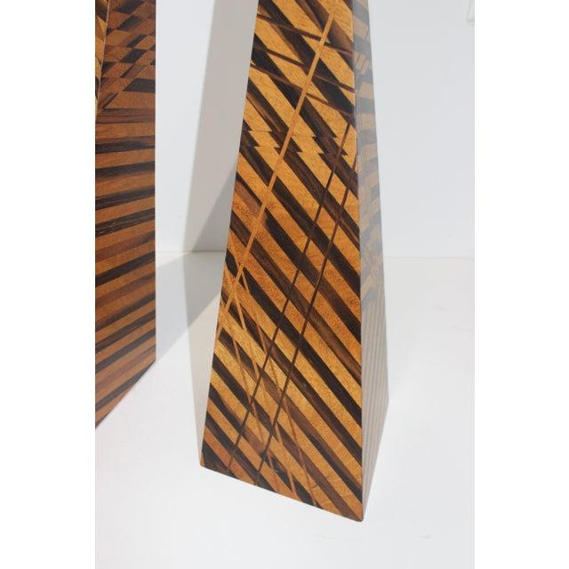 1990s Vintage Parquetry Wood Obelisks - Set of 2 For Sale - Image 5 of 13