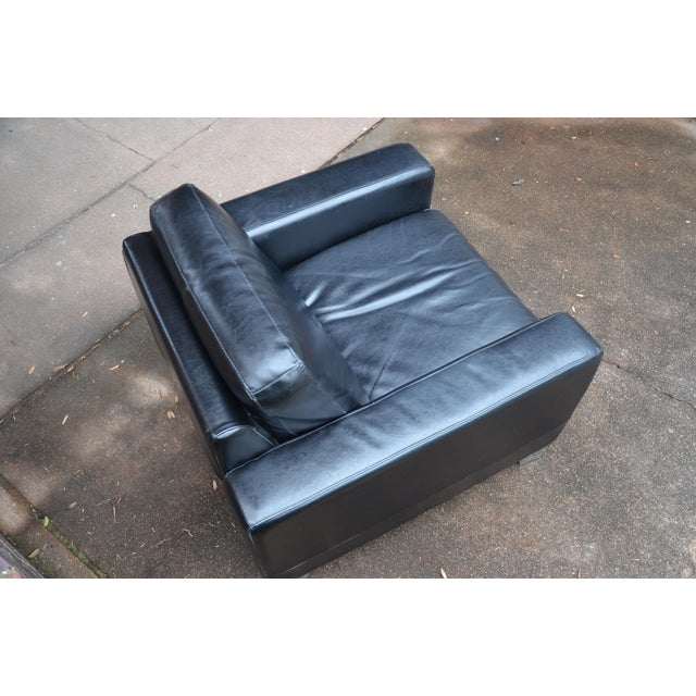 Animal Skin Natuzzi Italian Modern Black Leather Club Chair For Sale - Image 7 of 9
