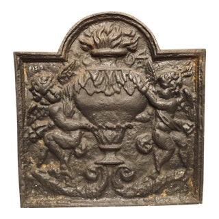 19th Century French Cast Iron Fireback, the Allegory of Winter For Sale