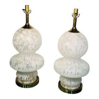 Pair of Murano Lamps With Unusual Design For Sale