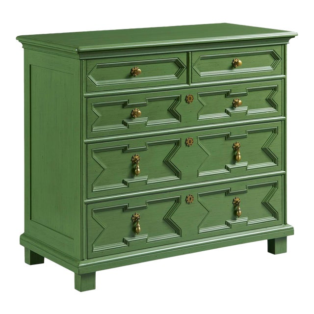 Custom order in Benjamin Moore Soot (2129-20). Styled after Jacobean 17th century cabinetry styles, our James chest...