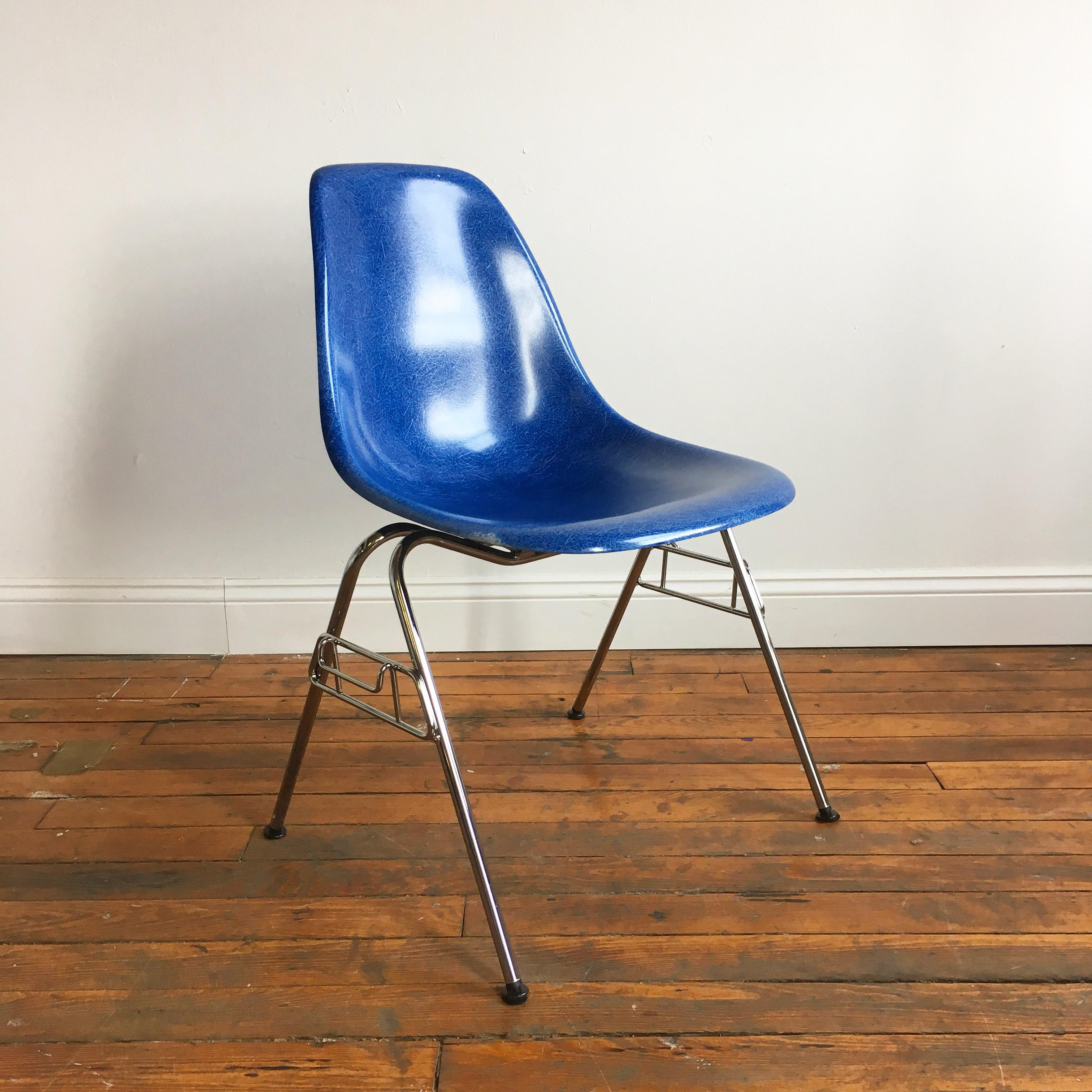 fiberglass shell chairs. herman miller eames fiberglass shell chair in royal blue - image 2 of 11 chairs
