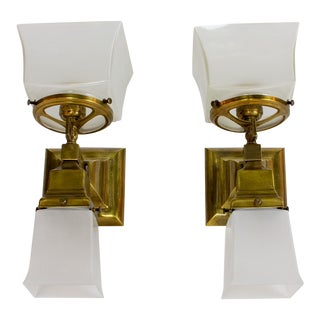 Mission Style Gas and Electric Sconces - a Pair For Sale