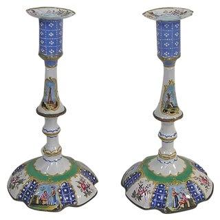 Antique Battersea Enamel Candlesticks - a Pair For Sale