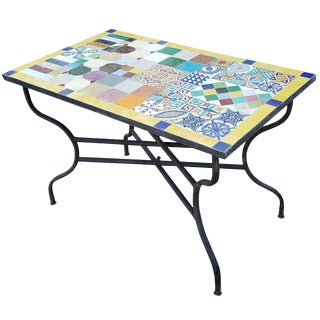 Moroccan Rectangular Mosaic Dining Table For Sale