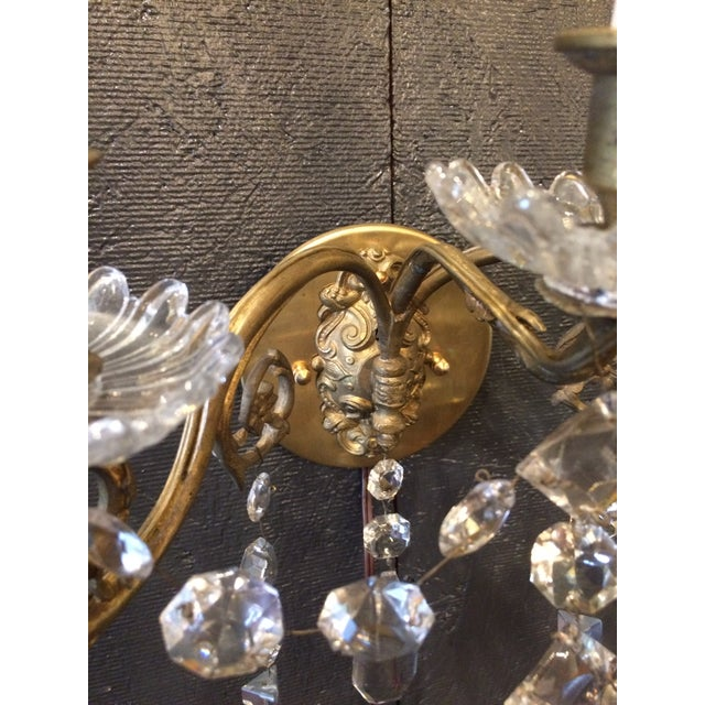 Napoleon III Bronze and Crystal Sconces - A Pair For Sale - Image 4 of 9