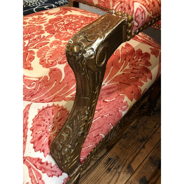 1950s Vintage Carved Giltwood Fauteuil Arm Chair For Sale - Image 9 of 13