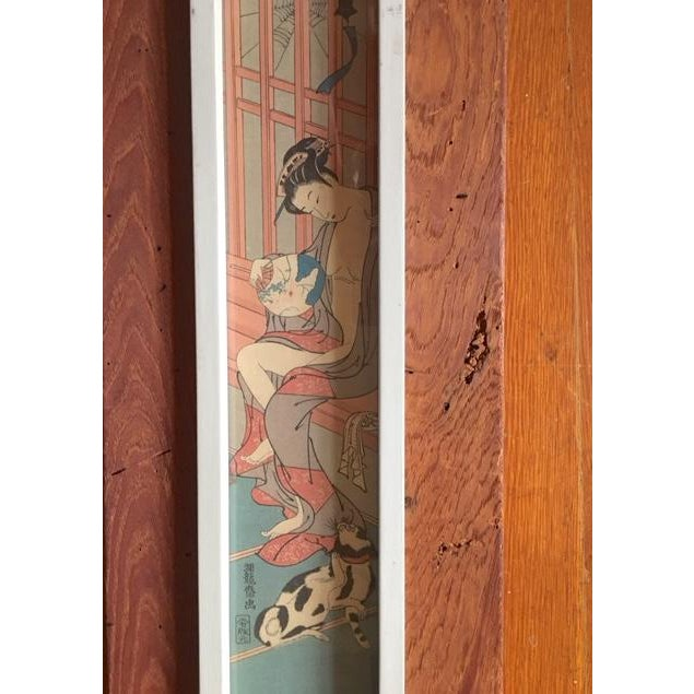 Lovely Rustic Wood Framed Asian Wood Block Print. Serene image framed in natural wood frame.