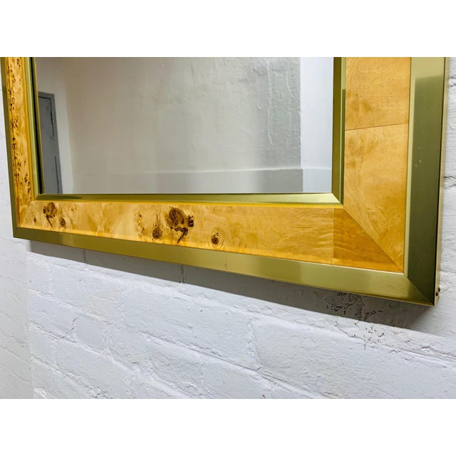 Mid Century Modern Brass and Burl Wood Mirror For Sale - Image 4 of 5