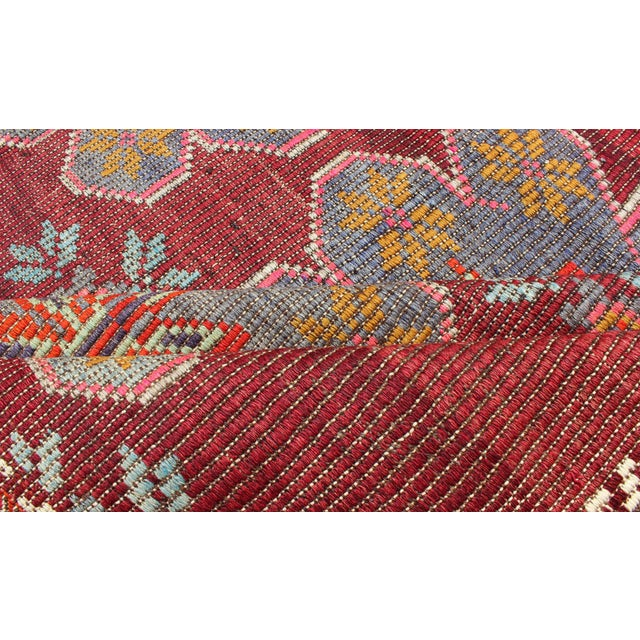 Mid 20th Century Keivan Woven Arts Vintage Turkish Embroidered Kilim Rug in Wine Red, Steel Blue, Pink For Sale - Image 5 of 7