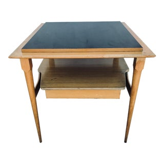 1950s Mid-Century Modern Blonde Wood & Black Formica End Table For Sale