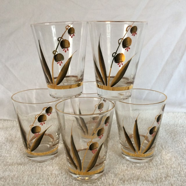 Beautiful Mid-Century Modern Hand Blown & Hand Painted With 22 Kt Gold Coral Bells Floral Design - Set of 6 For Sale - Image 13 of 13