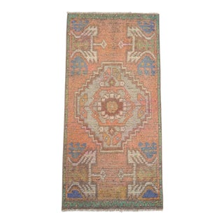 Distressed Kitchen Mat Low Pile Turkish Yastik Rug Faded Sink Mat - 1'6'' X 3'2'' For Sale
