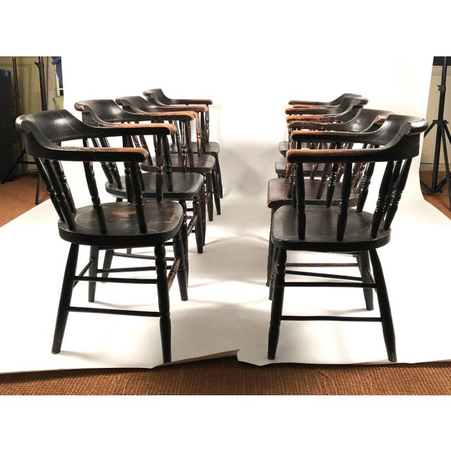 Set of 8 Matched Captain's Dining Chairs For Sale In Boston - Image 6 of 13