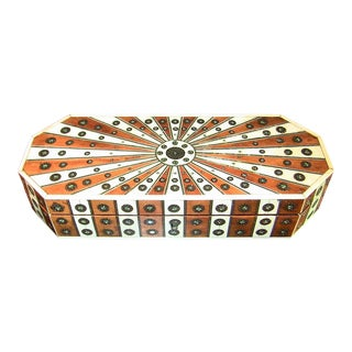 19c Anglo Indian Vizagapatam Sunburst Pattern Octagonal Document Box For Sale