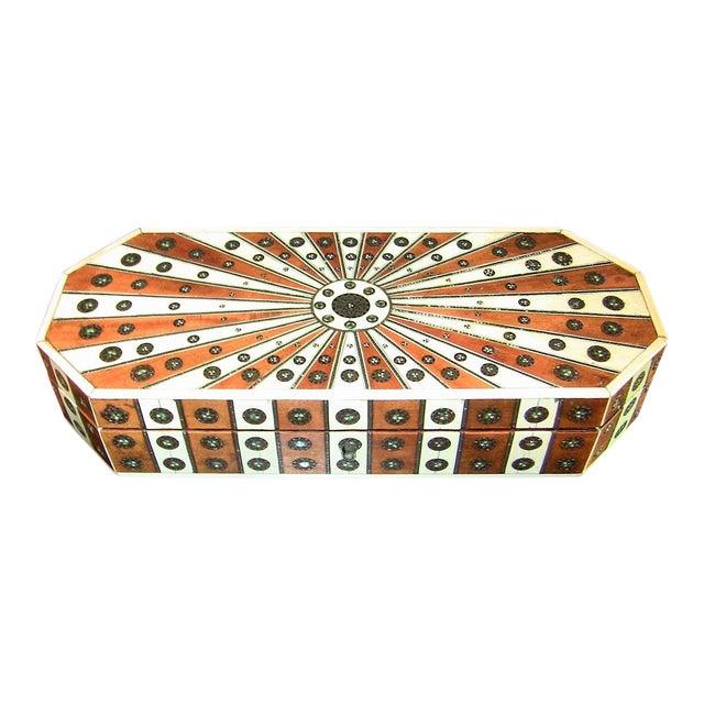 19c Anglo Indian Vizagapatam Sunburst Pattern Octagonal Document Box For Sale