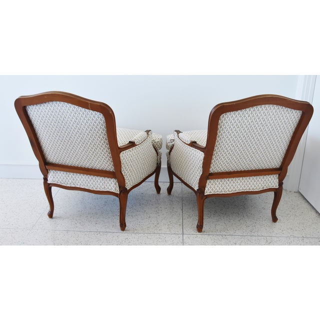 Vintage French-Style Newly Upholstered Bergere Chairs - Pair For Sale - Image 4 of 13