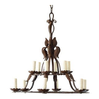 2 Tier Hand Forged Chandelier For Sale