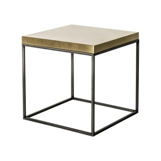 Satin Brass Top Cube Side Table