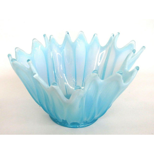 Fostoria Heirloom Style Blue Opalescent Glass Crimped Handkerchief Bowl For Sale In Miami - Image 6 of 11