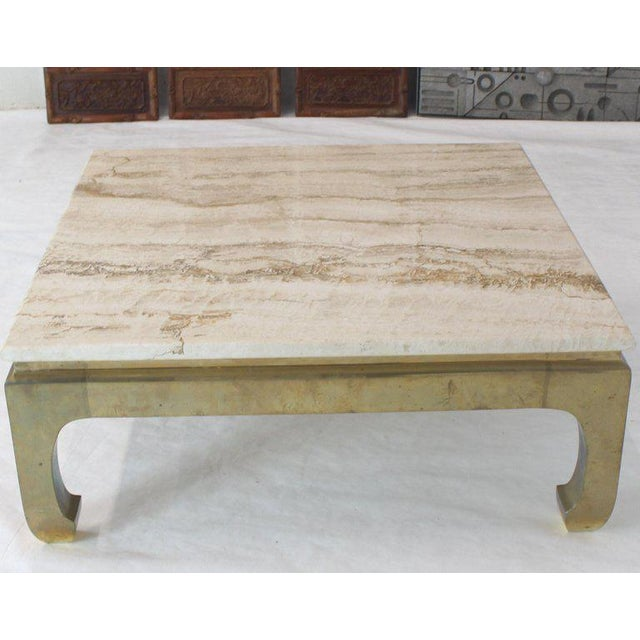 1970s 1970s Modern Solid Brass Base Square Travertine Top Coffee Table For Sale - Image 5 of 10