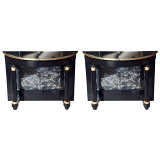 Ebonized Pier Demilune Tables - A Pair