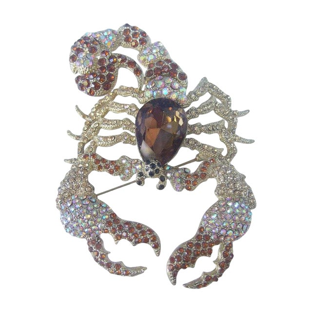 Massive Glittering Crystal Scorpion Brooch For Sale