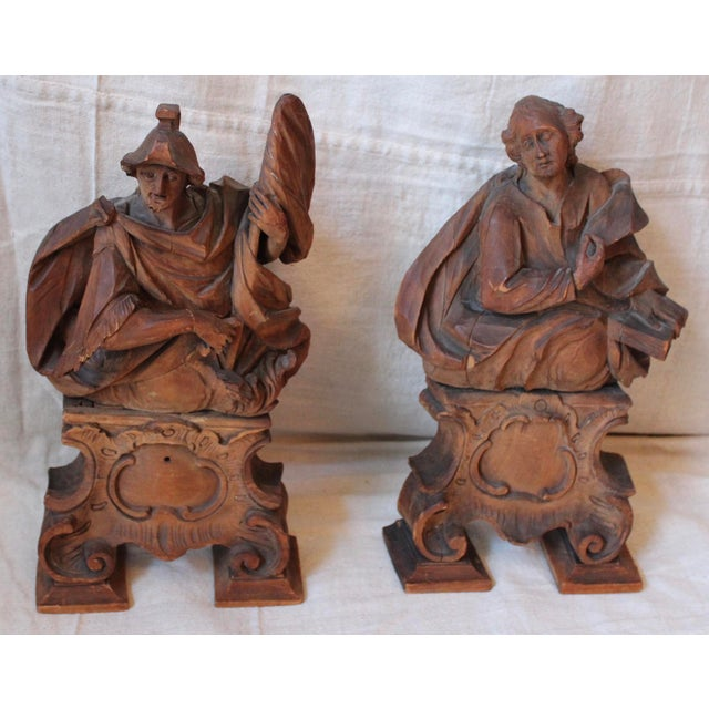 18th C. Wood Figure Carvings - Pair - Image 2 of 10