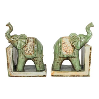 Pair of Ceramic Elephant Bookends For Sale