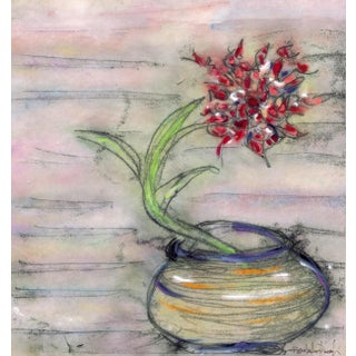 """Modern Chic Floral Print """"Red Glads in a Spinning Bowl"""" For Sale"""