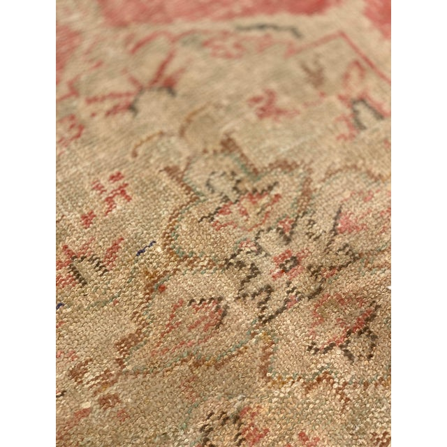 1920s Antique Distressed Turkish Oushak Area Rug - 6′6″ × 9′4″ For Sale - Image 12 of 13
