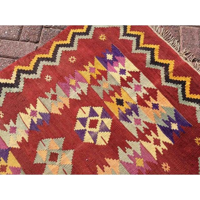 Textile Hand Made Vintage Turkish Kilim Rug For Sale - Image 7 of 10